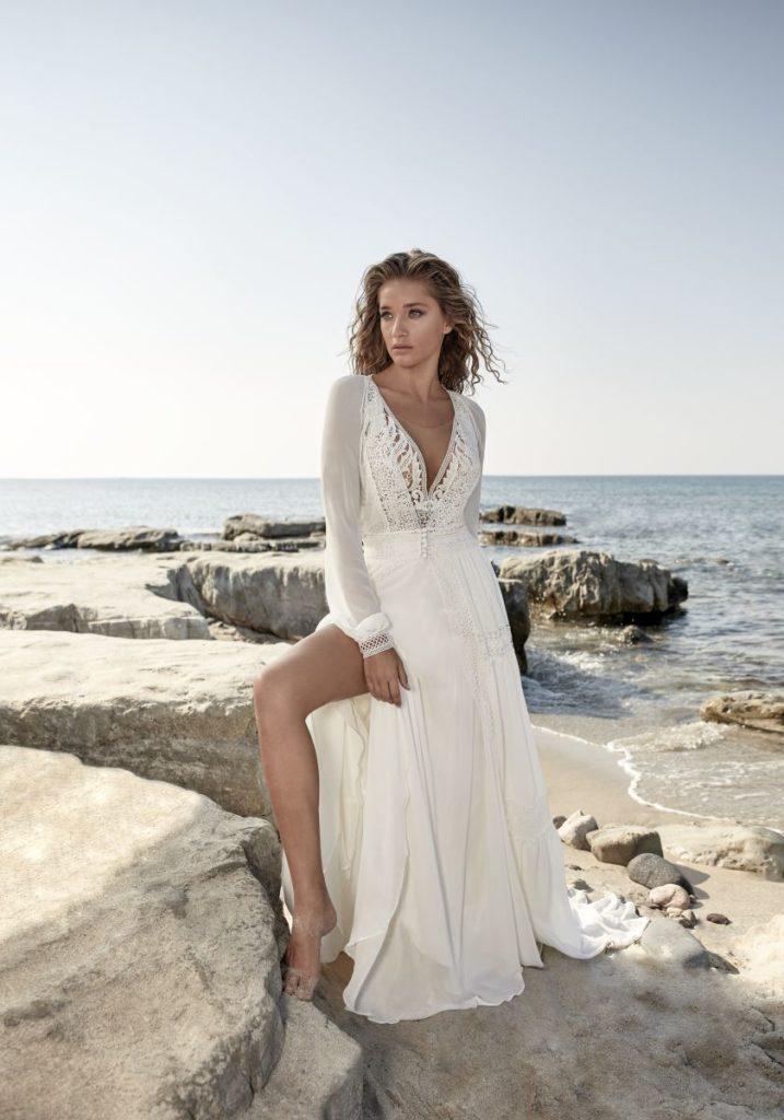 Collection Hervé Mariage 2020 - Robe Tergnier - Tout pour la mariée à Evian - Robes de mariage, coiffure, maquillage, fleurs, onglerie