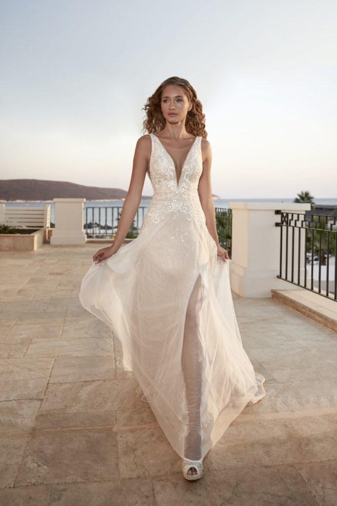 Collection Hervé Mariage 2020 - Robe Theys - Tout pour la mariée à Evian - Robes de mariage, coiffure, maquillage, fleurs, onglerie